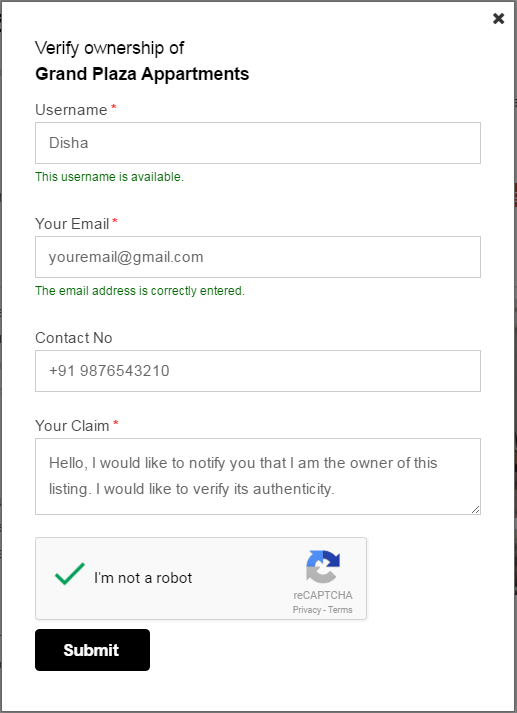 claim ownership form