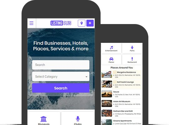 Listing Plus Directory Theme - Mobile App View