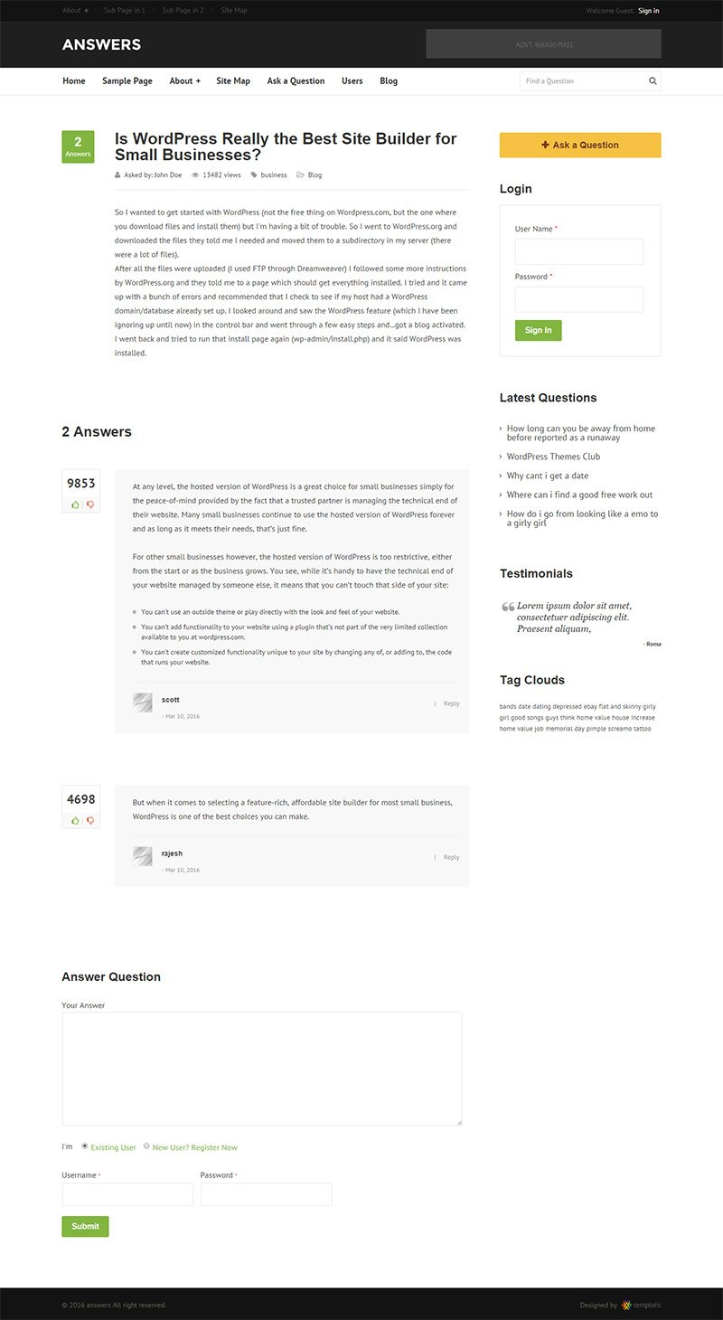 responsive WP Answers Theme