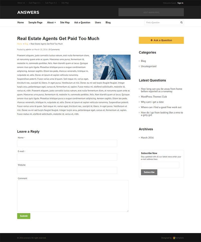 Answers Theme Blog Page
