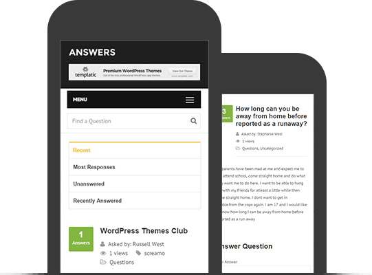 Mobile Friendly And responsive Q&A Theme - Mobile App View