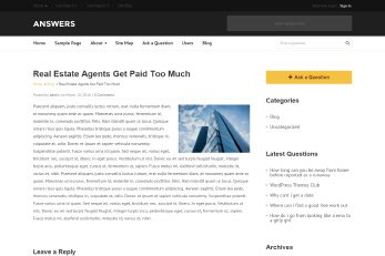 Answers WordPress Theme Blog Page