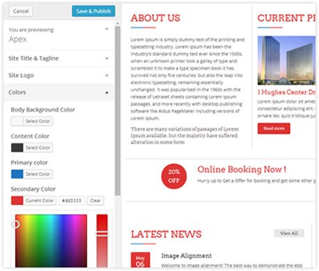 Real time customizer Building Construction Business WordPress Theme