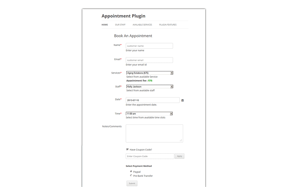 Appointment Booking Plugin For Wordpress - Templatic