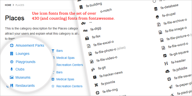 Directory Category Icons fontawesome