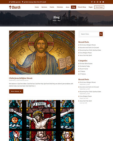 Blog your sermons and events with Church theme