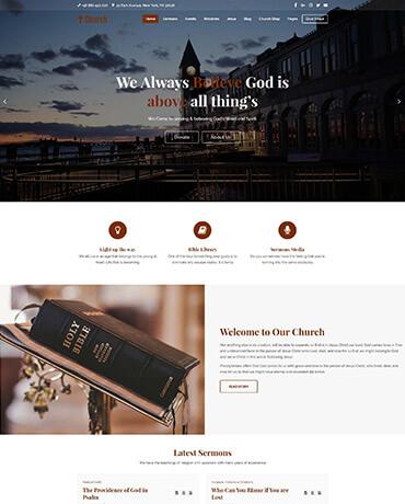 church wordpress theme home page