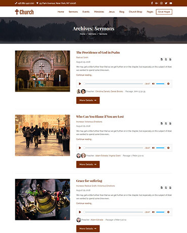 Multiple home pages church WordPress Theme