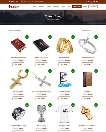 WooCommerce ready Church Theme