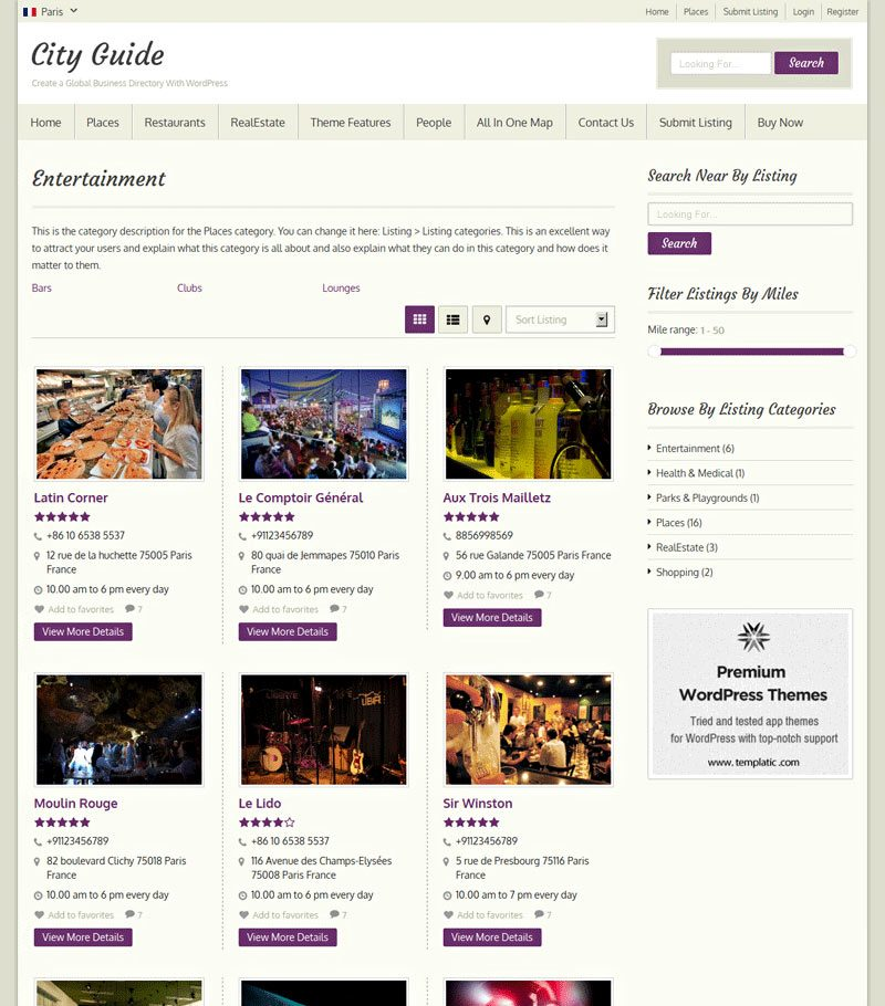 templatic City Guide wordpress theme free download | Templatic ...
