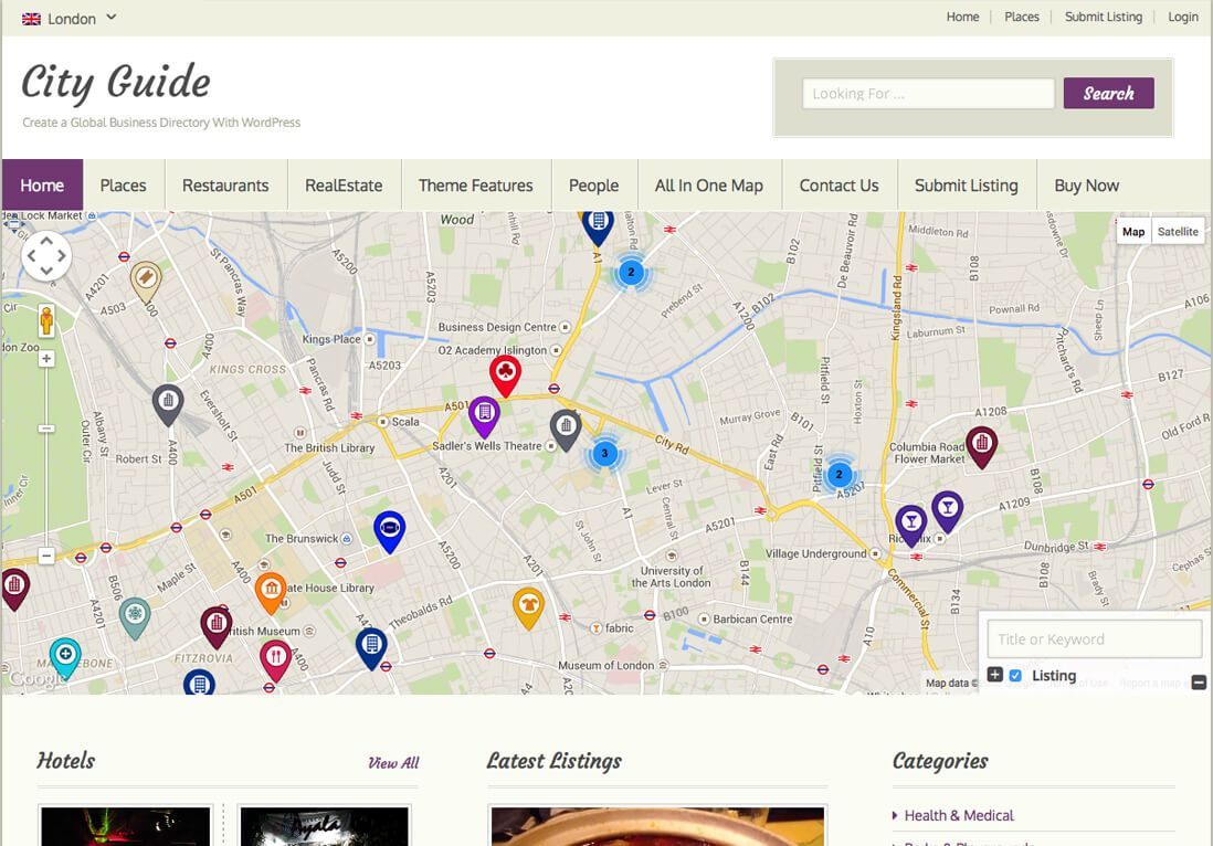 Responsive City Guide WordPress Theme