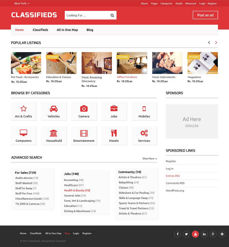 1 Classifieds Theme WordPress [2018] - PHP Ad Software script