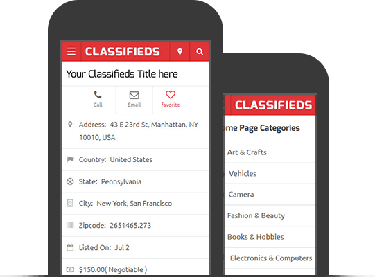 Classifieds Theme WordPress - Mobile Devices View