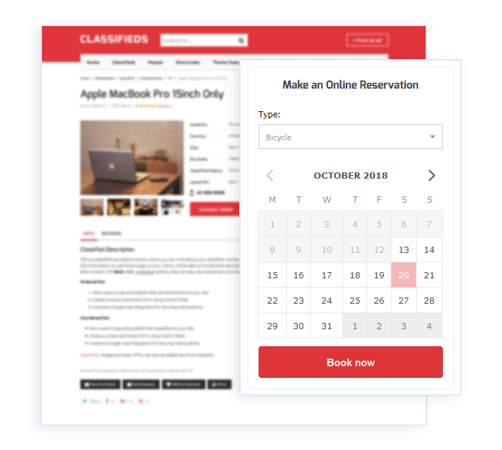 classifieds template with online booking