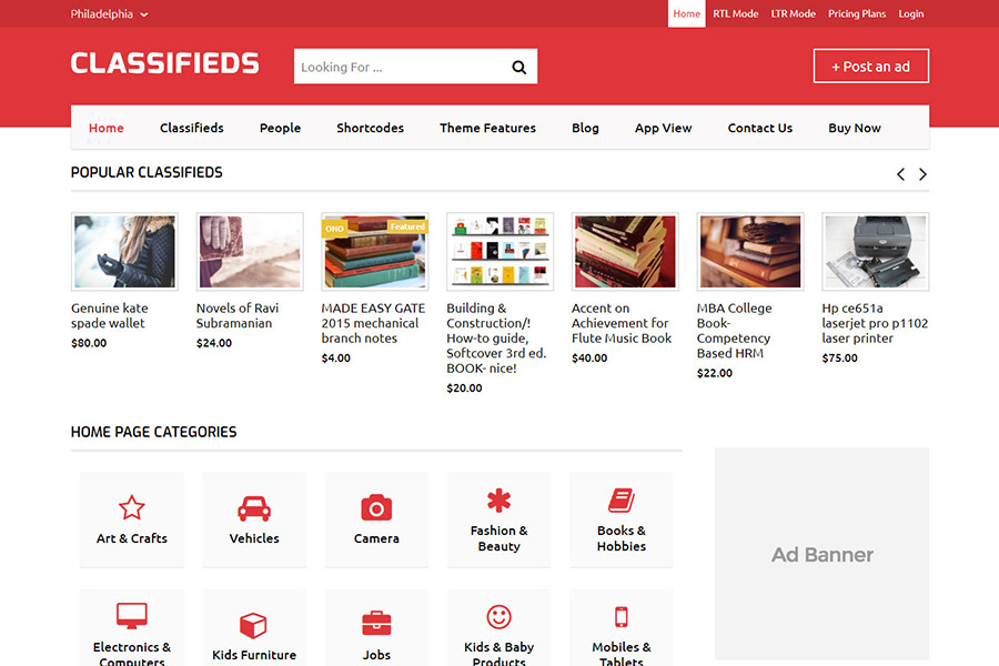 classifieds theme WordPress desktop view
