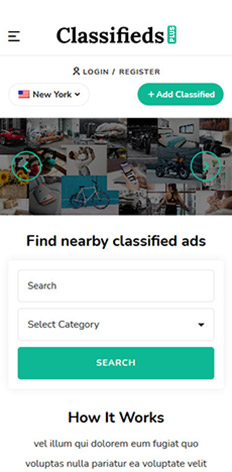 classifieds theme WordPress, mobile view