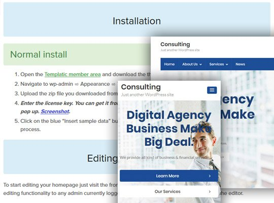 Consulting website template WordPress themes