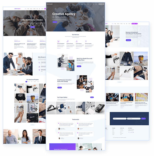 Agency WordPress Theme homepage designs