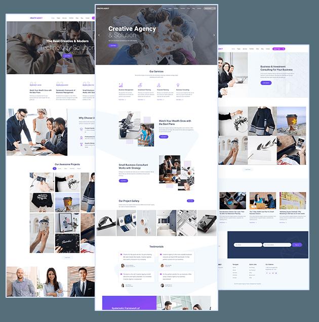 Agency WordPress Theme homepage designs
