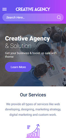 Agency Theme mobile view