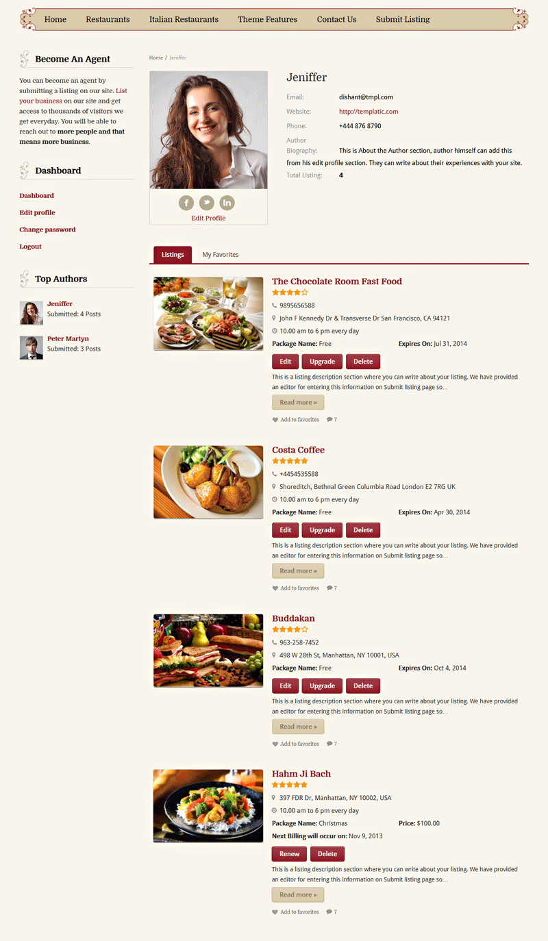 Food Reviews Theme Profile Pages