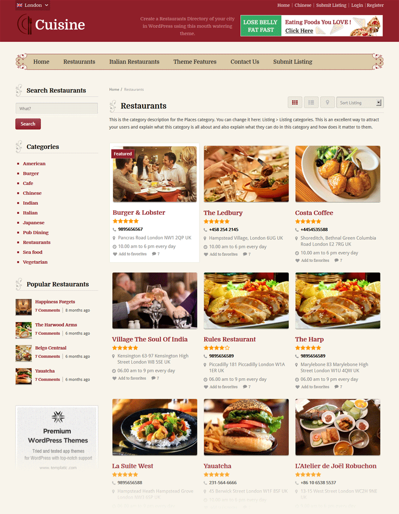 Cuisine WP Restaurant Directory Theme Categories