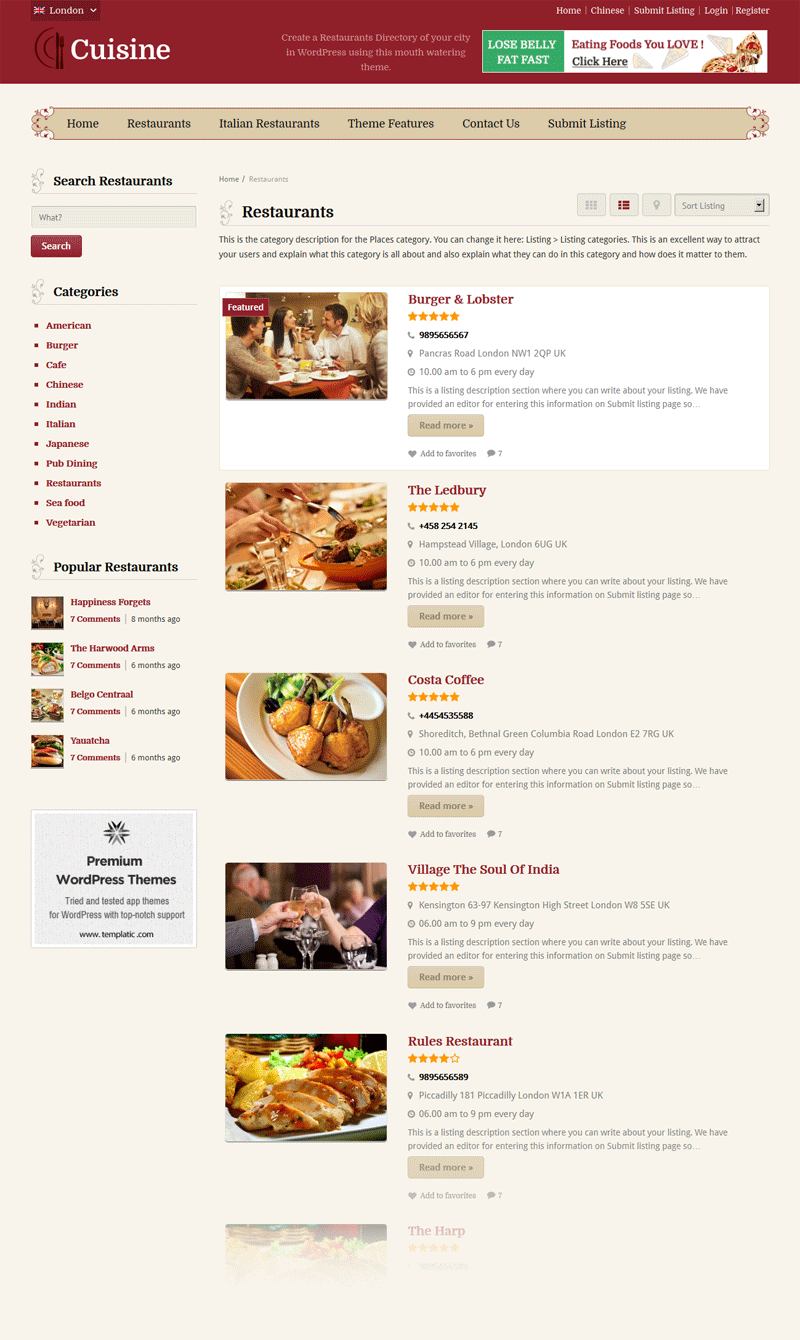 Cuisine Restaurant Directory Theme Listing Views