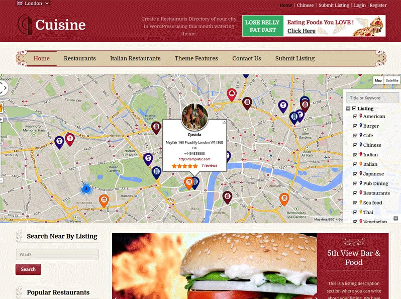 cuisine Restaurant Directory Theme