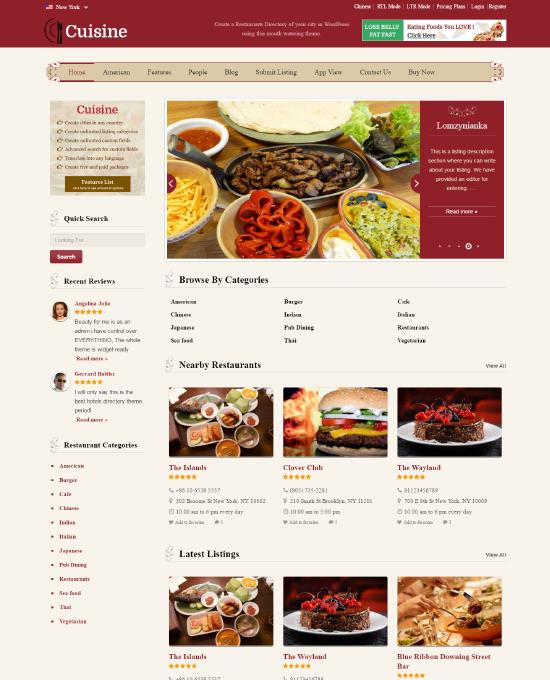 buy restaurant wordpress theme website template 2018