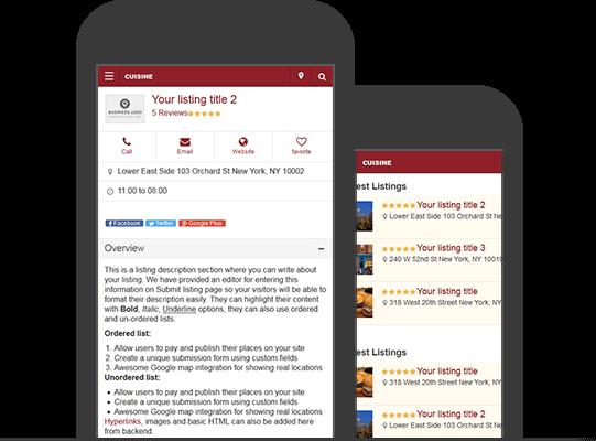 Mobile Version Restaurant Listings Directory Theme