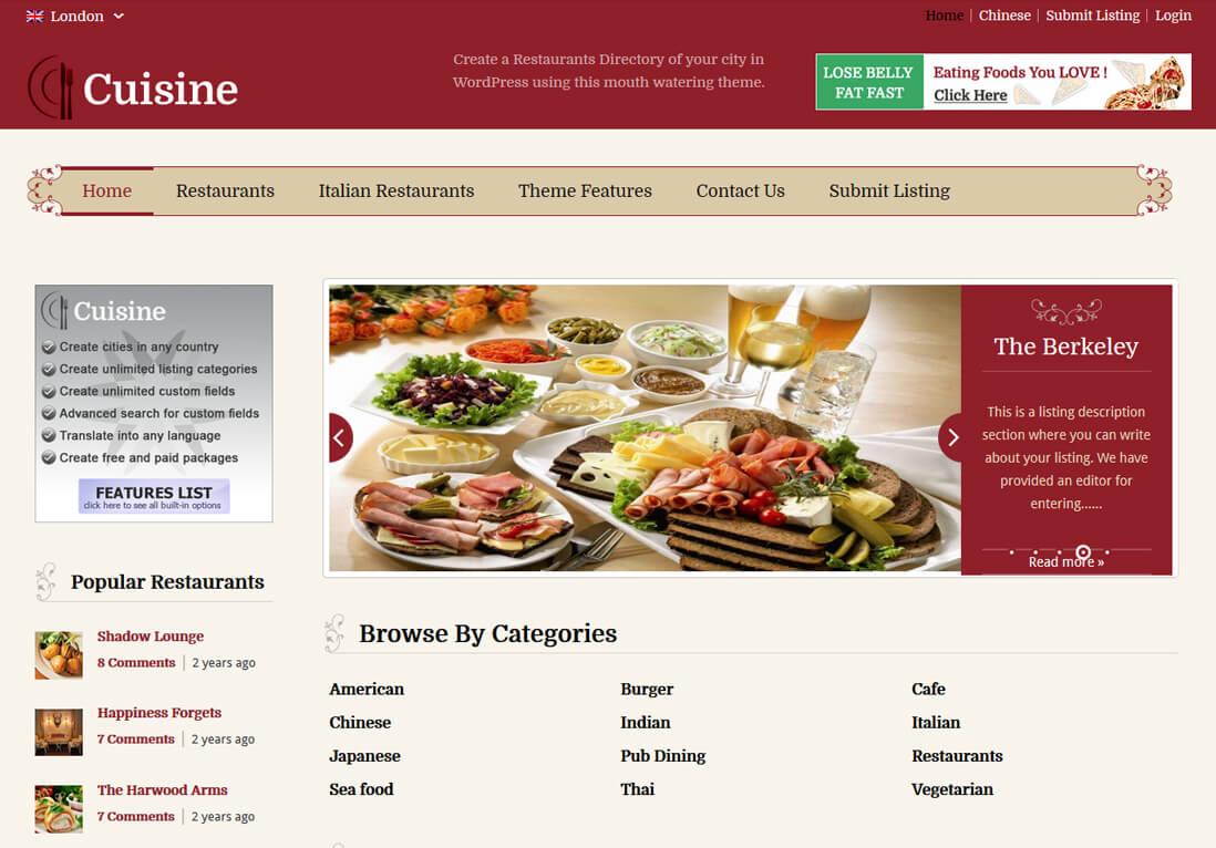 WordPress Restaurant Directory Theme
