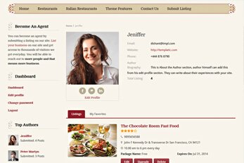 Cuisine Restaurant Listings Directory Theme Profile Pages