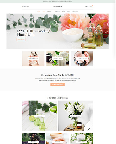 eCommerce theme homepage design version 1
