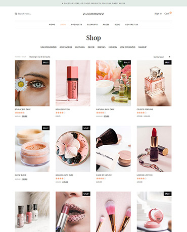 eCommerce website shop pages