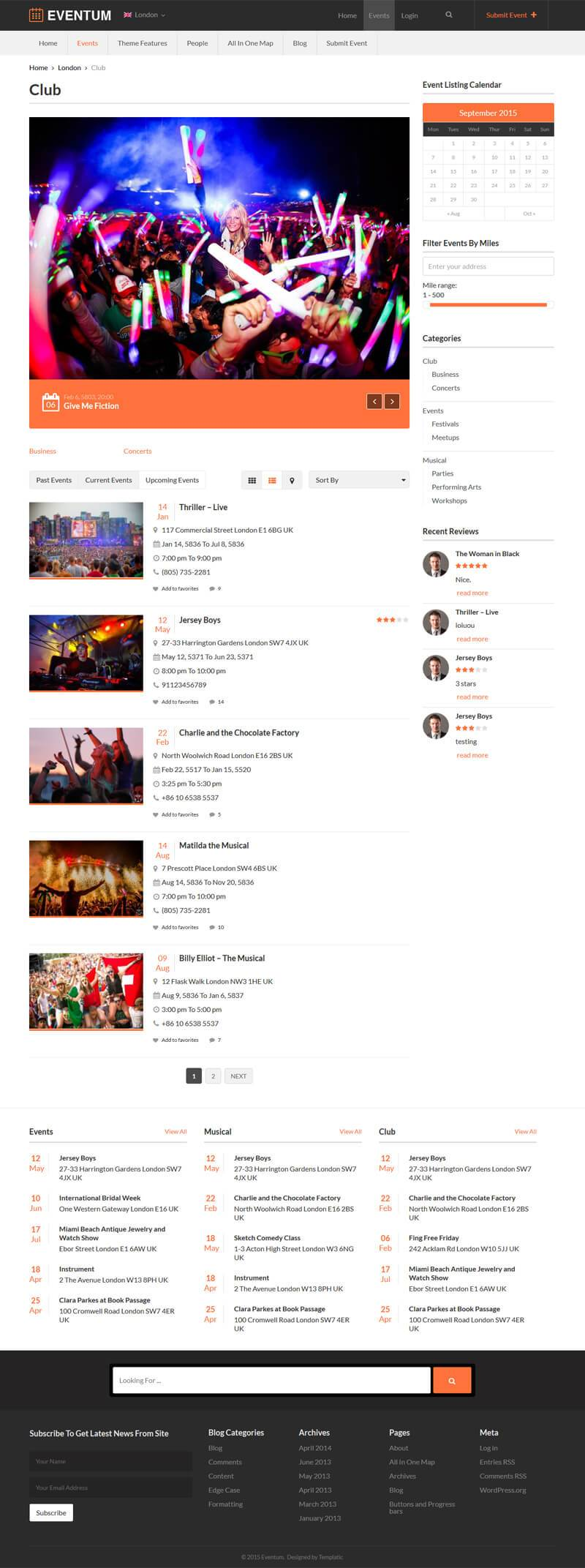 WP Events Calendar Theme