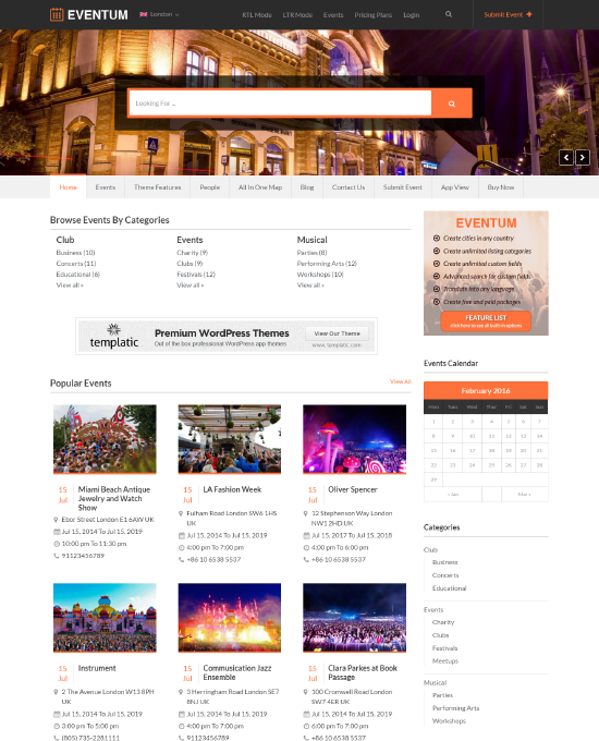 buy event management wordpress theme website template 2019