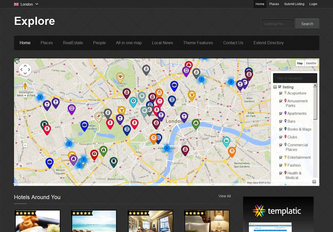 Explore Directory Theme WordPress Business Listing Theme - Map of all us theme parks