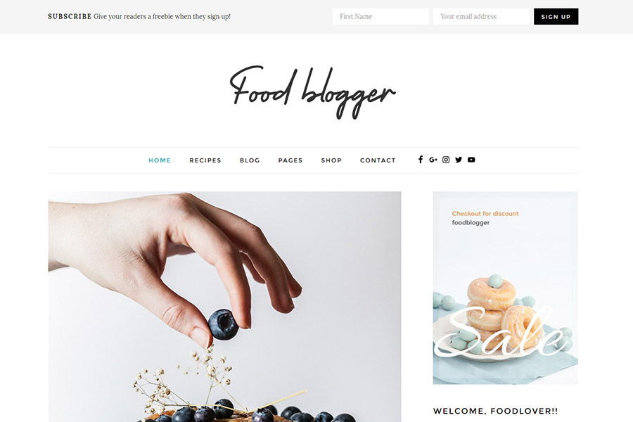 WordPress theme for foodbloggers, chefs, authors