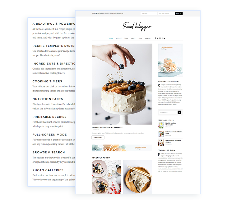 Food blog WordPress theme for chefs, food authors, cooks