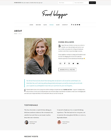 WordPress Theme for authors & food bloggers