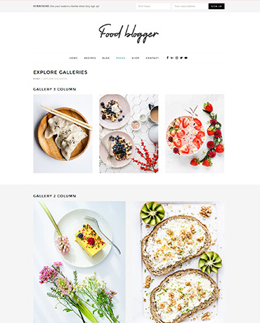 Food recipe galleries with WordPress Food blog Theme