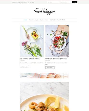 Multiple home pages food blog WordPress Theme
