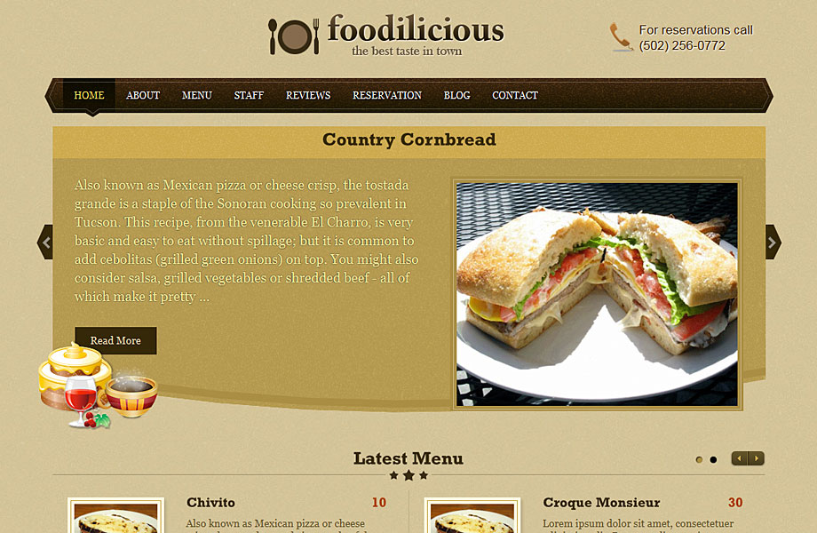 WordPress Theme For Restaurants,Cafes | WP Theme Foodilicious [2018]