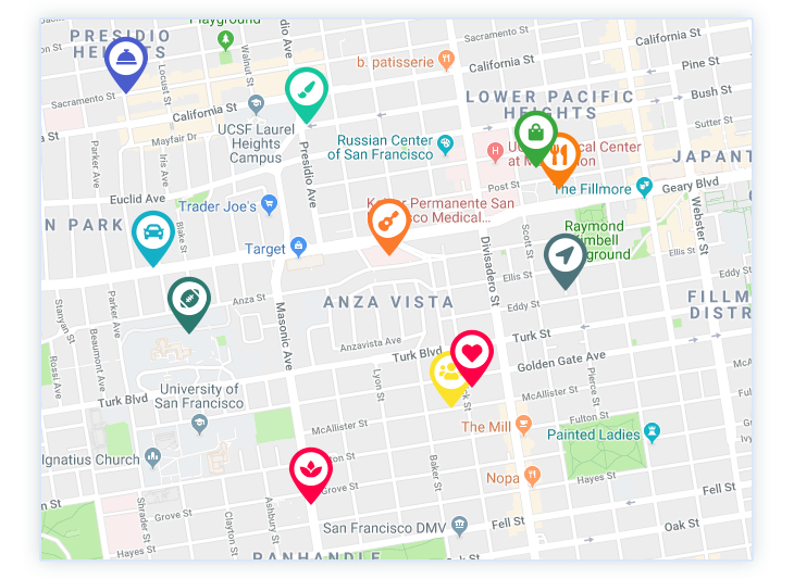 Map pages on your city directory theme