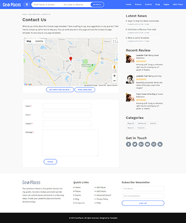 Geoplaces contact page template