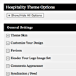 Wordpress hospitality theme - Custom Control Panel