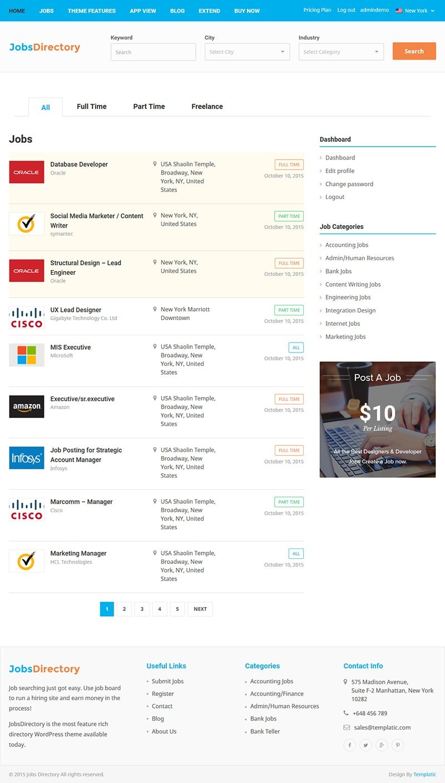 jobs directory theme responsive wordpress jobs theme job detail page
