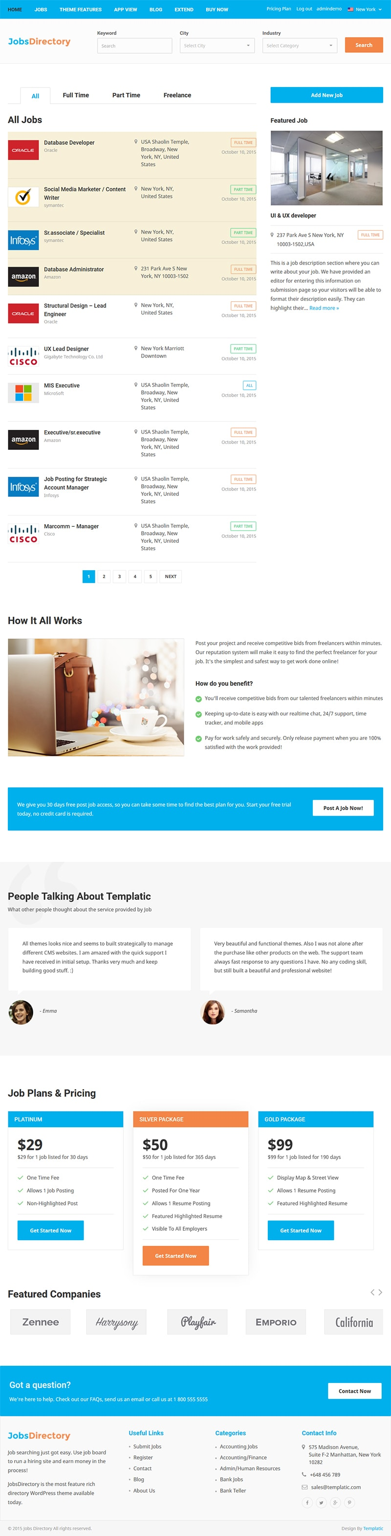 jobs directory theme responsive wordpress jobs theme job category page