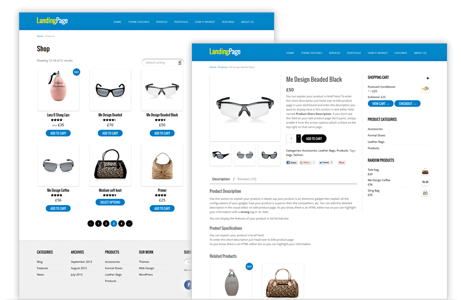 One Page e-commerce Theme - Single Landing Page WP Theme