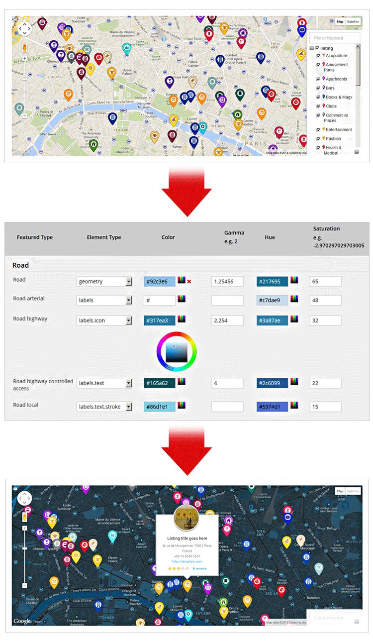 map customizer plugin. map customizer plugin to change the google map color scheme